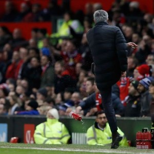 (Photos) Jose Mourinho sent off during West Ham match after kicking a water bottle