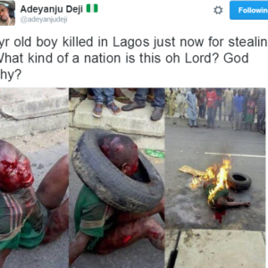 Photo: 7 Years Old Boy Lynched To Death In Lagos