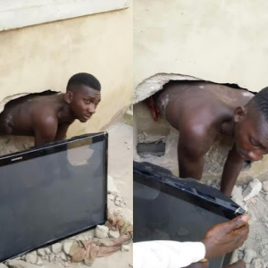 Photos: Thief gets caught after breaking through the wall of a home to steal a plasma TV