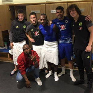 Davido Pictured With Victor Moses In Chelsea's Locker Room To Celebrate Spurs' Victory (Photo)