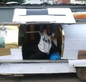 Young Nigerian Man constructs floating Car that sails on water & land in Lagos