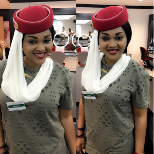 Mercy Aigbe Stuns In Emirates Air Hostess Outfit
