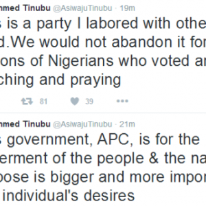"""APC Is a Party I Labored With Others To Build, We Would Not Abandon It For Another""- Bola Tinubu"