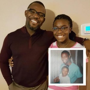 Okey Bakassi Shares Before & After Photo Of Himself & Daughter
