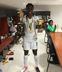 Photos: Asisat Oshoala She Displays AWCON & 'Highest Goal Scorer' Trophies
