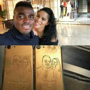 Former MBGN Iheoma Nnadi Shares Customized Gold iPhones Of Her Fiance Emmanuel Emenike And Her