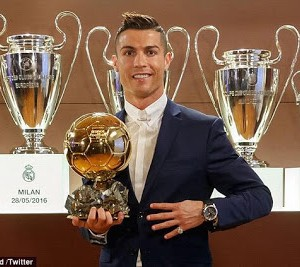 Cristiano Ronaldo wins the 2016 Ballon D'or award for the 4th time (photos)