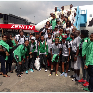 Photos: Super Falcons Arrive Nigeria With Their Trophy
