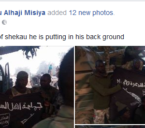 Photos: One of the flags seen in Boko Haram leader, Shekau's videos, reportedly recovered in Sambisa forest