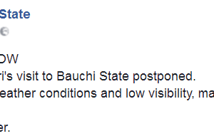 Pres. Buhari's Visit To Bauchi State Postponed Due To Bad Weather