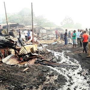 Photos: Fire guts timber market in Nnewi, Anambra state
