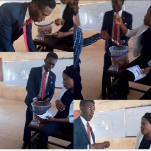 PHOTOS: Nigerian student who sells snacks in a suit