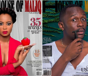 Ex Beauty Queen Omowunmi Akinnifesi and comedian Ush-Bebe cover House of Maliq January Edition 2017