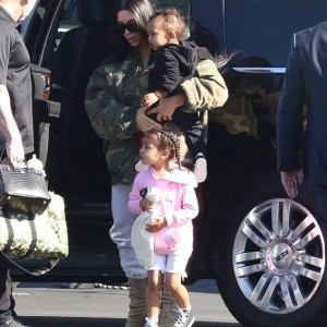 (Photos) Kim Kardashian and kids spotted hopping on private jet to Costa Rica