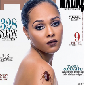 Tania Omotayo poses with huge cockroach alongside Chioma Akpotha on the cover of House of Maliq