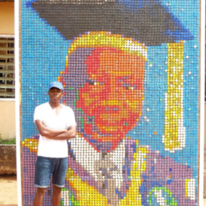 UNIBEN student creates a portrait of his Vice Chancellor with 6000+ bottle covers