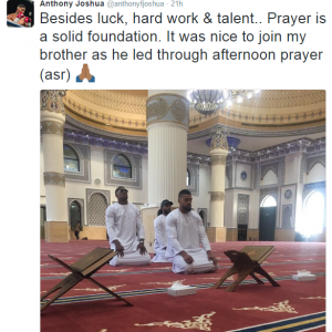 Boxing champion Anthony Joshua slammed after tweeting pic of him praying in a mosque