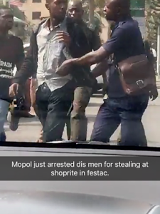 Photos: Men allegedly arrested for stealing at Shoprite, Festac town