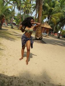 Meg Otanwa shows off toned bikini body while on vacation