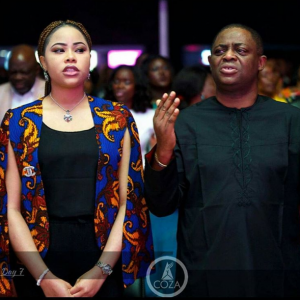 Fani Kayode and wife Precious pictured in church
