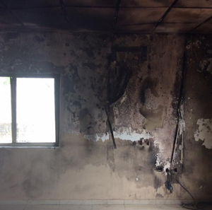 Photos: Lady allegedly tries to kill boyfriend and burns down his house after he broke up with her