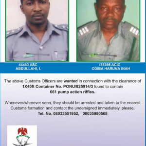 (Photo)Two customs officers declared wanted for clearing seized 661 pump-action riffles