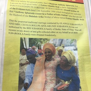 Nigerian Man Puts Up Advert To Deny Being Biological Father Of Newly Wedded Bride