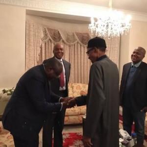 Photos: President Buhari receives Bukola Saraki, Yakubu Dogara, others in London