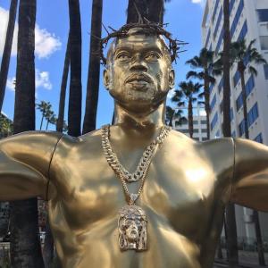 Photos- Crucifixion statue of Kanye West on Hollywood Boulevard