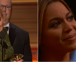 You are our light- Beyonce in tears as Adele dedicates her Album of the Year Award to her