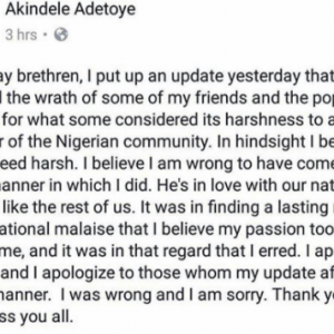 I was harsh and wrong- Professor Adetoye apologizes after slamming 2face for planned protest