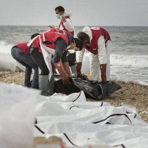 Photos/Video: Dreadful! Bodies of 74 Italy-bound African migrants wash ashore in Libya