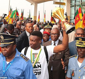 Cameroon players, coaches get heroic welcome after AFCON victory (Photos)