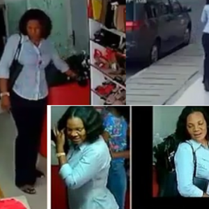 Well dressed woman caught on CCTV stealing a phone & cash in Lagos store