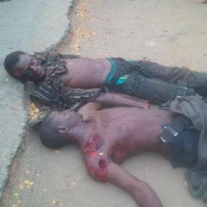Graphic Photo: Two bodies found dumped in front of a hospital in Kogi state