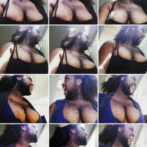 Nigeria's hairest woman Queen Okafor returns with boob baring pics