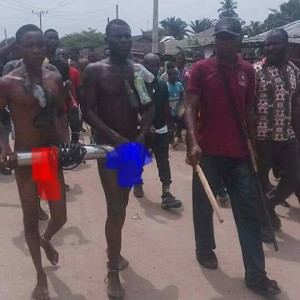 Robbers Caught Vandalizing Water Pump Paraded N*ked in Delta State (Photos)