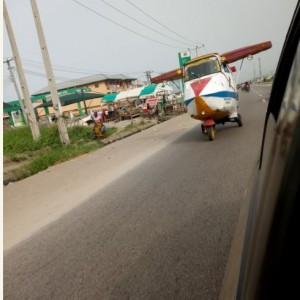 'Aeroplane' Spotted Moving on Main Road in Delta State (Photos)