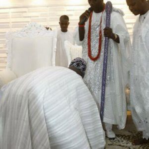 See Photos of Former President Obasanjo Prostrating Before the Ooni of Ife