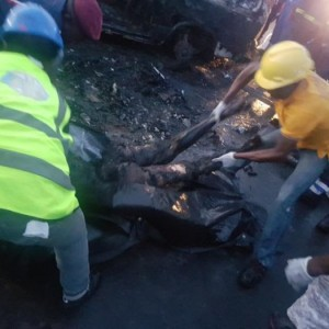 Commotion as 5 People Are Burnt To Death In Fatal Road Accident in Lagos (Graphic Photo)