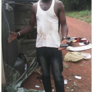 Man Escapes Death by Accident After Car Somersaulted 4 Times (Photos)