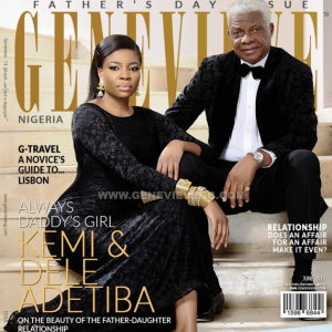 Kemi Adetiba and dad cover Genevieve magazine