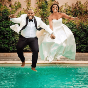 Viral photos of couple who jumped into swimming pool after wedding