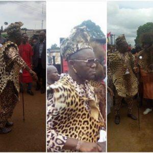 Petroleum Minister Ibe Kachikwu, rocks leopard skin for New Yam Festival