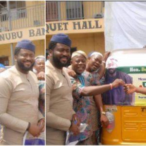 Desmond Elliot donates tricycle to constituents (Photos)
