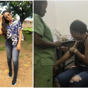 Actress Regina Daniels captured crying after injection (video)