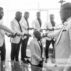 #BAAD2017: Lovely photo of BankyW's groomsmen praying for him just before heading to the venue of his wedding