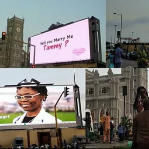 Nigerian man proposes to girlfriend in Lagos using a billboard at CMS