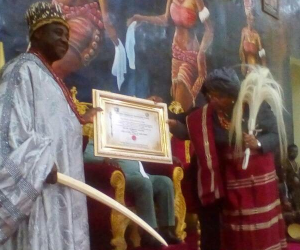 Liberian president bags Chieftaincy title in Imo (photos)