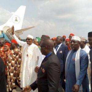 President Buhari arrives Enugu state (Photos)